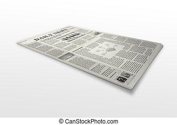 újság, white háttér