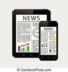 újságcikk, tabletta, telefon, mozgatható, elszigetelt, számítógép, háttér, hír, áttetsző