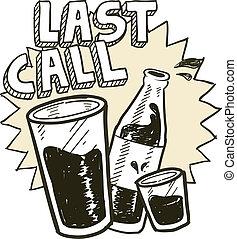 último, chamada, álcool, esboço