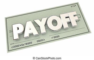 último, final, dinero, ilustración, pago, pago, cheque, 3d