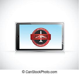 último minuto, app, en, un, tableta, ilustración, diseño