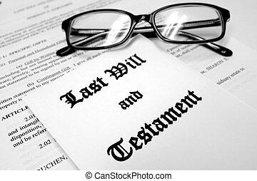 último, propriedade, vontade, planificação, testamento, óculos