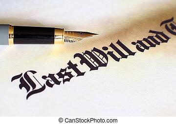 último, testamento, vontade