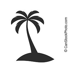 único, árvore palma, ligado, a, ilha