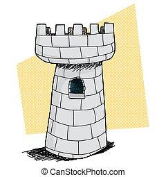 único, castelo, com, janela