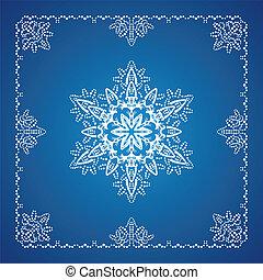 único, detalhado, snowflake, com, natal, borda, 1