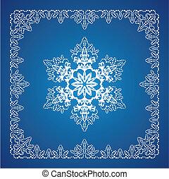 único, detalhado, snowflake, com, natal, borda, 2