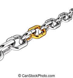 único, enlace, en, un, cadena