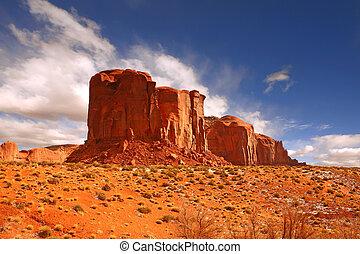 único, grande, formação rocha, em, vale monumento
