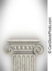 único, grego, coluna, isolado, branco