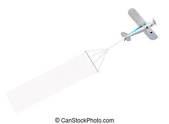 único, motor, avião, com, bandeira