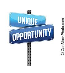 único, oportunidad, señal