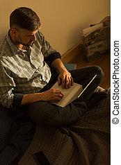 único, seu, laptop, homem