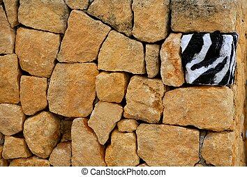 único, solamente, uno, zebra, textura, pintado, piedra