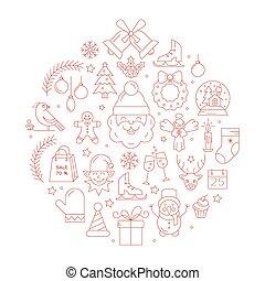 único, vector, concepto, con, diferente, navidad y año nuevo, celebración, elements.