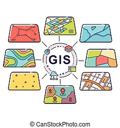úroveň, data, pojem, gis, infographic