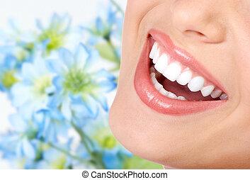 úsměv, a, zdravý, teeth.