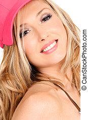 úsměv eny, s, dlouho, blond vlas
