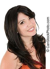 úsměv eny, s, dlouho, bruneta vlas