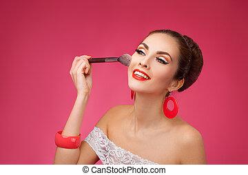úsměv eny, s, makeup, brush., ona, is, stálý, na, jeden, karafiát, grafické pozadí.