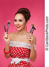 úsměv eny, s, makeup, brushes., ona, is, stálý, na, jeden, karafiát, grafické pozadí.