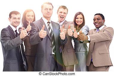 úspěšný, mužstvo, up, povolání, palec