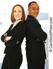 úspěšný, usmívaní, business četa