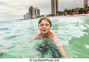 úszás, óceán, gyermek