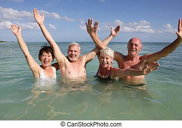 úszás, óceán, visszavonul emberek