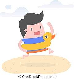 úszás, fiatal, gumi, ring., kacsa, tengerpart, ember