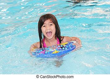 úszás, leány, élvez, idő