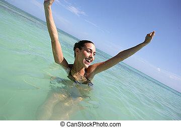 úszás, tenger, nő