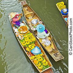 úszó, damnoen, bangkok, thaiföld, saduak, piac