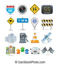 út, és, autó, ikon, állhatatos