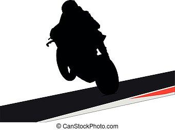 út, ív, moto, motorkerékpár fut, sárga, biciklista, útvonal, superbike, bringás, turn., sideline., ír, sziget, faj, biztonság, körorvos, versenyzés, útvonal, ember