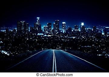 út, ólmozás, fordíts, éjszaka, város
