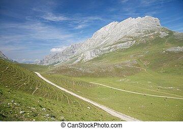 út, alatt, cantabrian, völgy