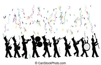 út banda, alatt, ünneplés
