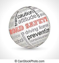 út biztonság, téma, gömb, noha, keywords