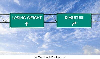 út cégtábla, fordíts, fogyás, és, cukorbaj