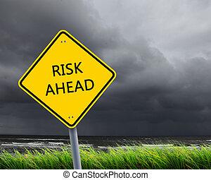 út cégtábla, közül, kockáztat, előre