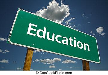 út cégtábla, oktatás