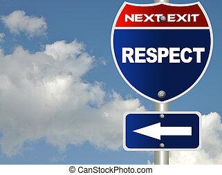 út cégtábla, respektál