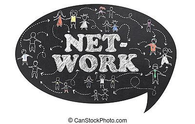 út, darabka, hálózat