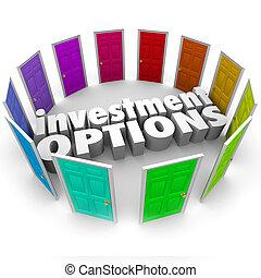 út, eldöntés, sok, befektetés, takarékbetét ábra, ajtók, opciók, legjobb