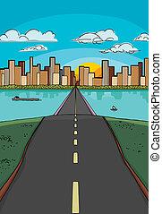 út, fordíts, egy, város