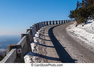 út, fordíts, jested, hegy, képben látható, napos, tél, nap, liberec, czech republic