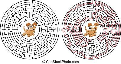 út, , kutya, útvesztő, csinos, játék, kutya, ábra, elvont, ...