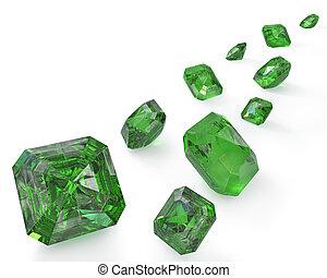 út, smaragdok, zöld