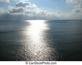 út, tenger, napvilág, felszín